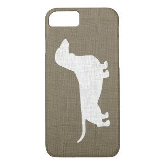 White Dachshund Silhouette Faux Linen Burlap Style iPhone 7 Case