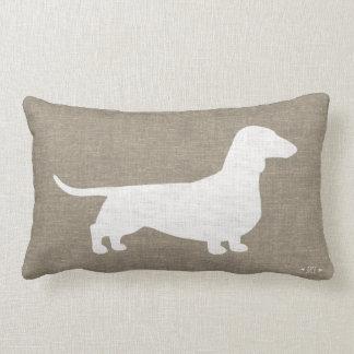 White Dachshund Silhouette Faux Linen Burlap Style Lumbar Pillow