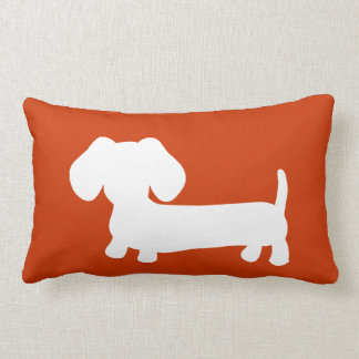 White Dachshund with on orange Lumbar Pillow