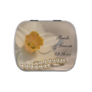 White Daffodil and Pearls Wedding Favor Jelly Belly Tins
