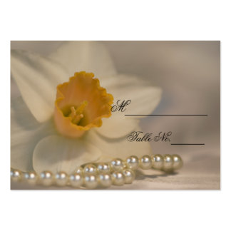 White Daffodil and Pearls Wedding Place Card