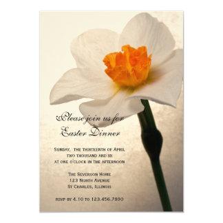 White Daffodil Easter Dinner Invitation