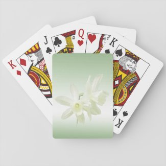 White Daffodil Flowers on Green Playing Cards