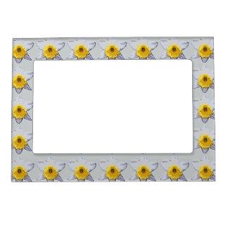 White Daffodil Magnetic Frame (Grey)