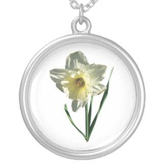 White Daffodil Round Pendant Necklace