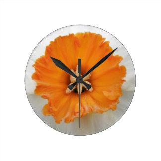 White Daffodil Wall Clock