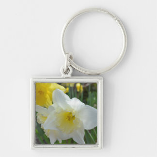 White Daffodil with Yellow Center Keychain