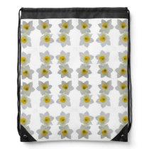 white daffodils drawstring backpack