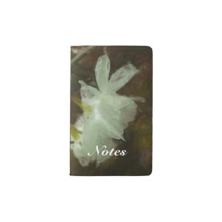 White Daffodils Floral Impressionist Painting Pocket Moleskine Notebook Cover With Notebook