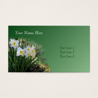 White Daffodils Flower Art Business Card