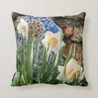White Daffodils Garden Pillow