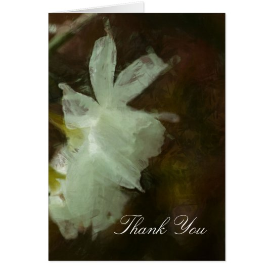 White Daffodils Impressionist Painting Card