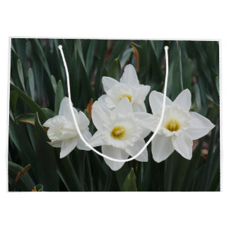 White daffodils large gift bag
