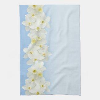 White daffodils Mojo kitchen towel
