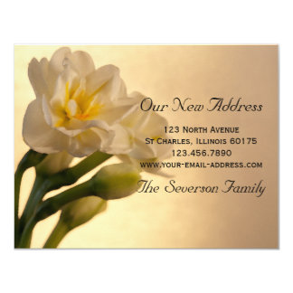 White Daffodils New Address Announcement Card