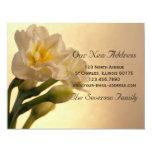 "White Daffodils New Address Announcement Card 4.25"" X 5.5"" Invitation Card"