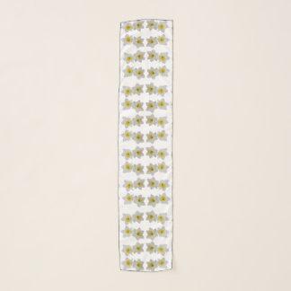 White daffodils on white scarf