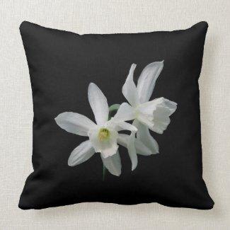 White Daffodils mojo_throwpillow