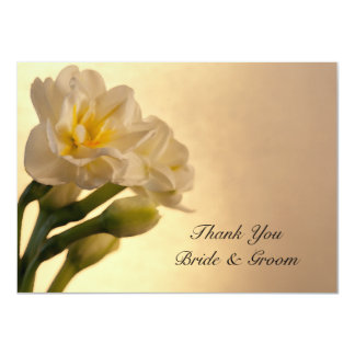 White Daffodils Spring Wedding Flat Thank You Note Card