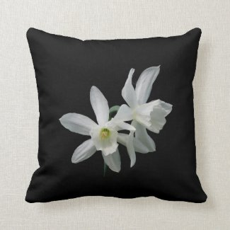 White Daffodils Throw Pillow