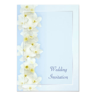 "White daffodils wedding invitation 5"" x 7"" invitation card"