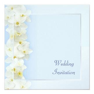 """White daffodils wedding invitation 5.25"""" square invitation card"""