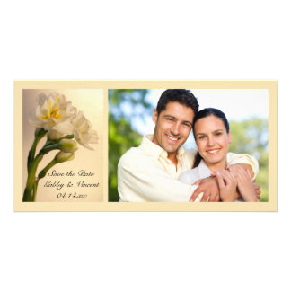 White Daffodils Wedding Save the Date Photo Card
