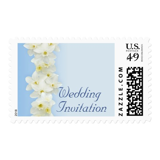 White daffodils wedding stamp