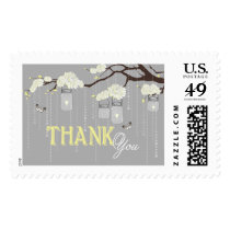 White Dahlia Branch Rustic Thank You Postage