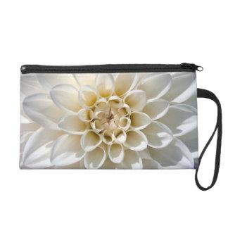 White Dahlia Flower Wristlet Clutches