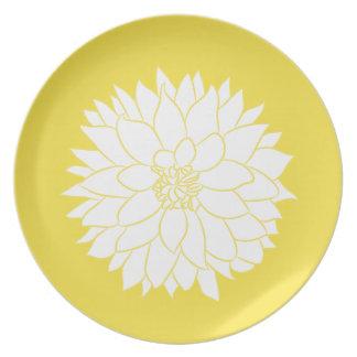 White Dahlia on Yellow Plate