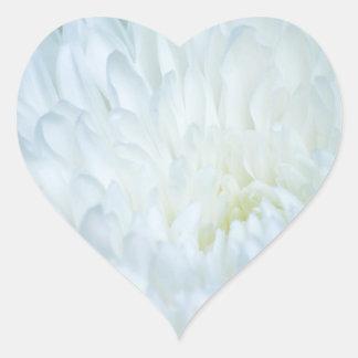 White Dahlia Petals Heart Sticker