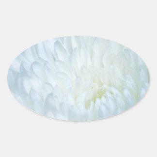 White Dahlia Petals Oval Sticker
