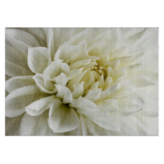 White Dahlia Sepia Dahlia Closeup Flower Template Cutting Board