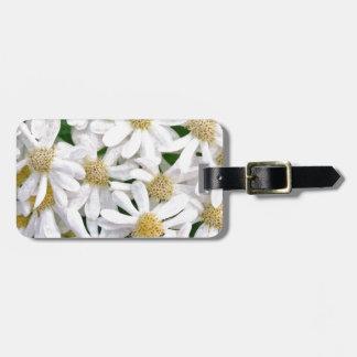 White dahlias luggage tag