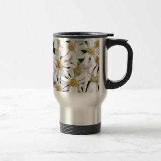 White dahlias travel mug