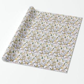 White dahlias wrapping paper