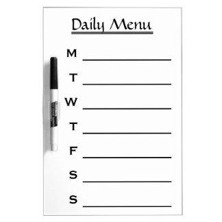 White Daily Menu Weekly Menu Dry Erase Board