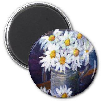 White daisies 2 inch round magnet
