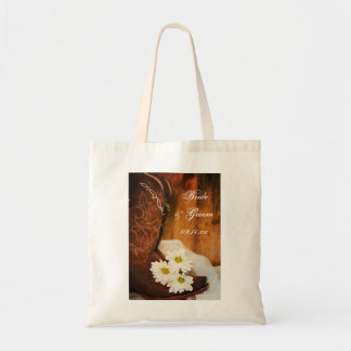 White Daisies and Cowboy Boots Country Wedding Budget Tote Bag