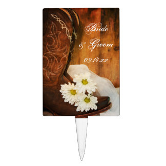 White Daisies and Cowboy Boots Country Wedding Cake Picks