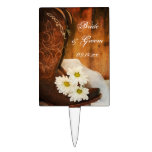 White Daisies and Cowboy Boots Country Wedding Cake Topper