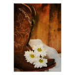 White Daisies and Cowboy Boots Country Wedding Poster