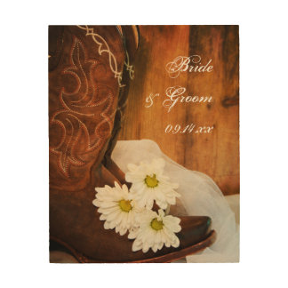 White Daisies and Cowboy Boots Country Wedding Wood Wall Art