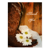 White Daisies and Cowboy Boots Wedding Thank You Postcard
