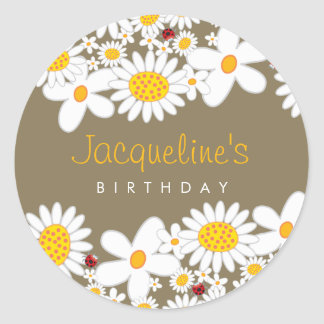 White Daisies and Ladybugs Favors Label Sticker