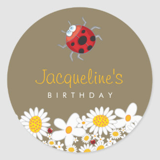 White Daisies and Ladybugs Kid's Birthday Sticker