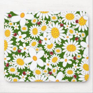 White Daisies and Ladybugs Mousepad