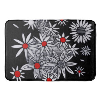white daisies bathroom mat
