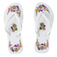 White Daisies Bouquets accent White Flip Flops